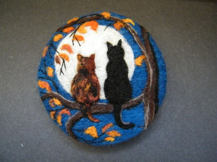 Handmade needle felted brooch/Gift 'Friends in the Moonlight ' by Tracey Dunn in Crafts, Hand-Crafted Items | eBay!