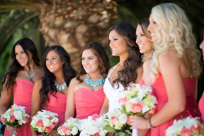 Nothing says summer more than beautiful coral color bridesmaids dresses