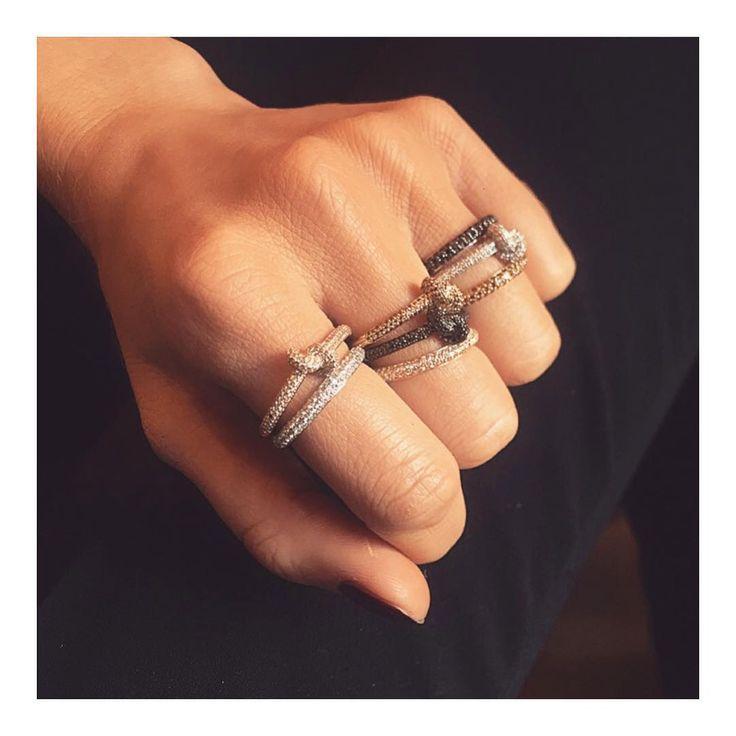 Black Diamond Knot Rings