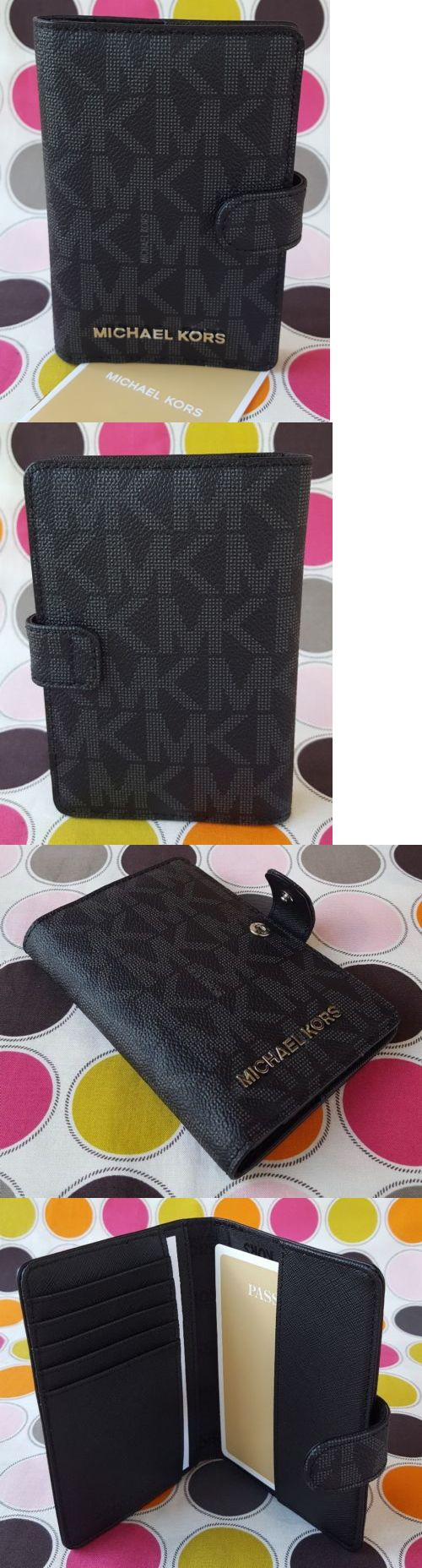 Passport Holders 169288: New Michael Kors Signature Pvc Jet Set Travel Passport Holder Wallet In Black. -> BUY IT NOW ONLY: $62 on eBay!
