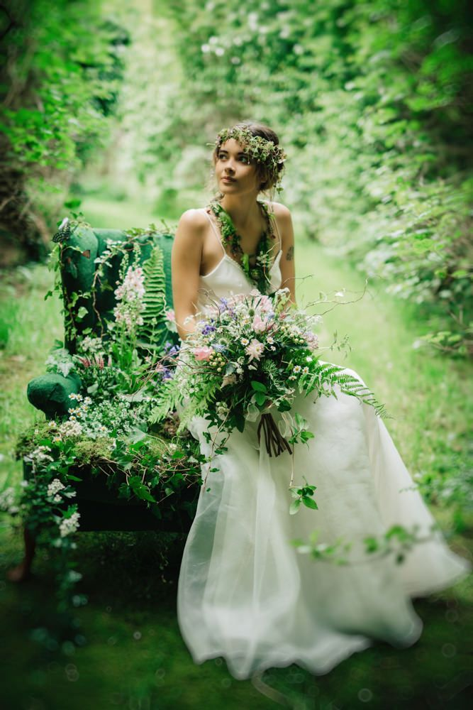Enchanting Woodland Bridal Portrait | Woodland Flower Fairy Inspired Bridal Shoot | Dresses By Christine Trewinnard Couture | Blooms From The Cornish Cutting Garden | Images From Enchanted Brides Photography | http://www.rockmywedding.co.uk/in-a-cornish-country-garden/