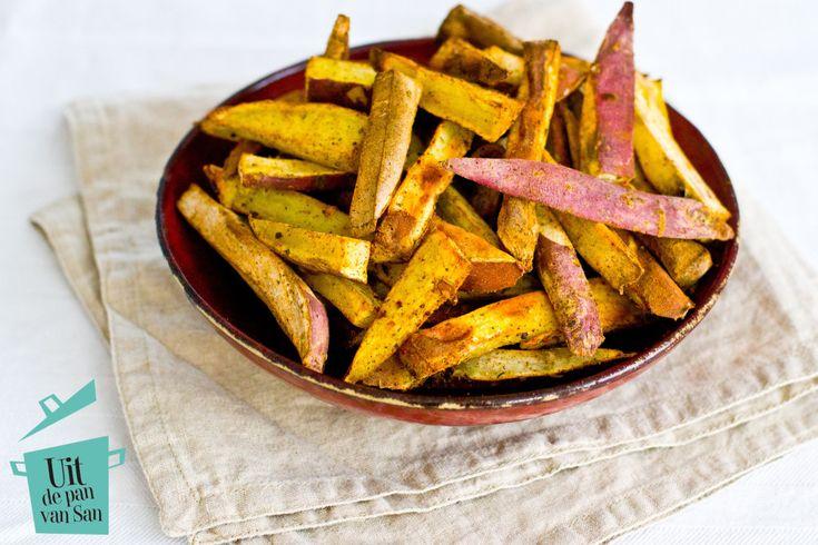 Zoete aardappel frietjes-met logo