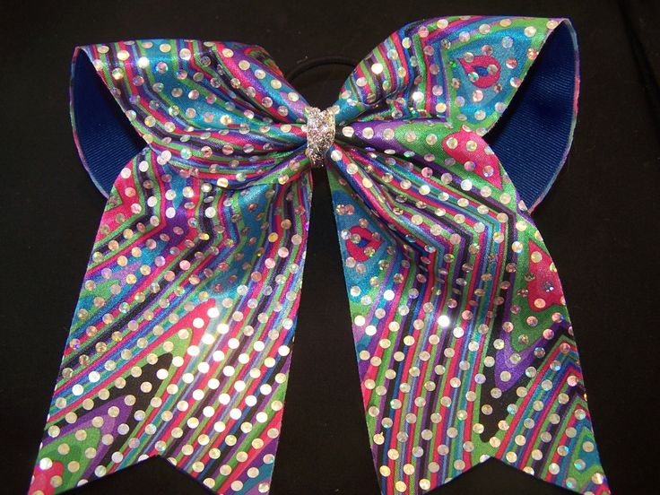 Blue Multi Colored Cheer Bow with Holograpic Dots, Custom Cheer Bow, Big Cheer bow by PizazzBows on Etsy https://www.etsy.com/listing/179766689/blue-multi-colored-cheer-bow-with