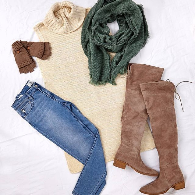 """Look great, feel great for a casual chic weekend that's sure to be filled with lots of fun! Outfit: """"In Focus"""" available at birdsnest.com.au. Details - Knit: #Elm, Jeans: #JAG, Boots: #DjangoandJuliette, Gloves: #Jendi, Scarf: #RareRabbit"""