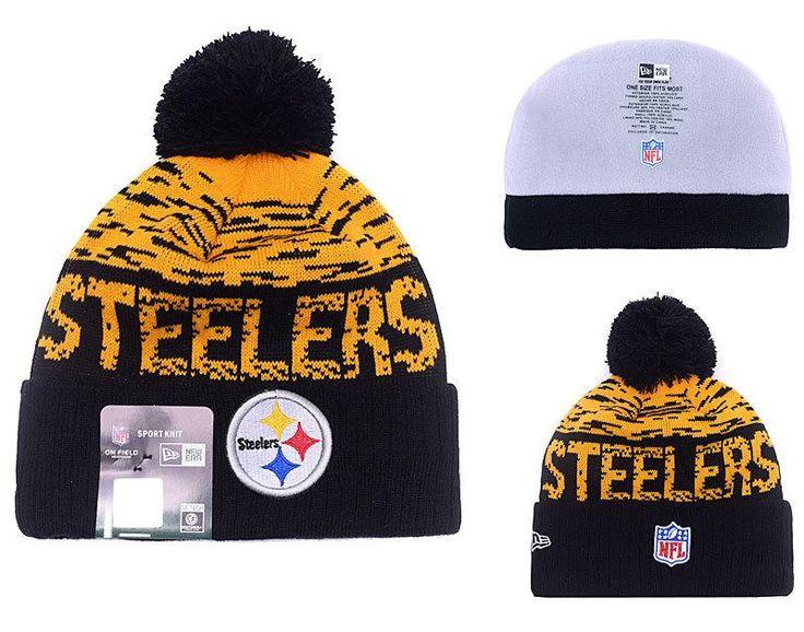 Men's / Women's Pittsburgh Steelers New Era NFL 2016 On-Field Sports Knit Pom Pom Beanie Hat - Gold / Black