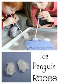 Penguin Ice Races for kids are great oral sensory practice and fine motor work too!