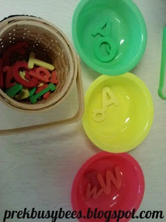 Pre-K Busy Bees: Garrett Morgan's Traffic Light; sort letters or other objects into red, yellow & green bowls or containers; use tweezers or tongs for extra fine motor practice!