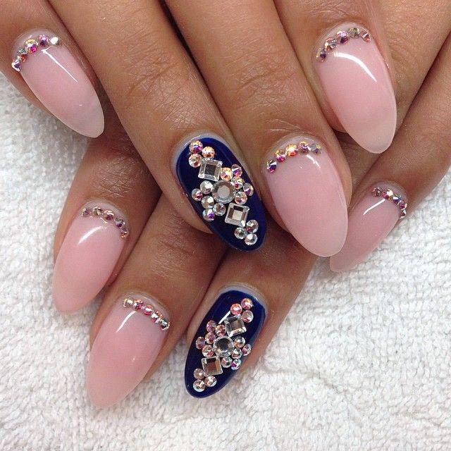 pinkampnavy almond nails rhinestone reverse french nail
