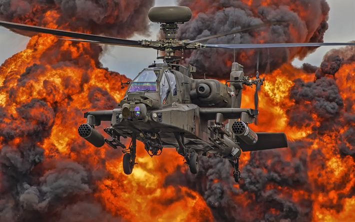 Download wallpapers McDonnell Douglas AH-64 Apache, 4k, attack helicopter, Apache, combat aircraft, helicopters