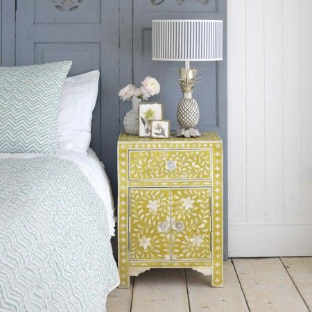 Bone Inlay Floral Side Table in Yellow - Bedroom Furniture - Bedroom - Kitchen, Bed & Bath