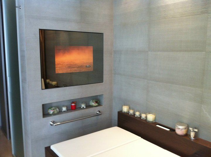 Bathroom Installation Television Switched On TelevisionMirror