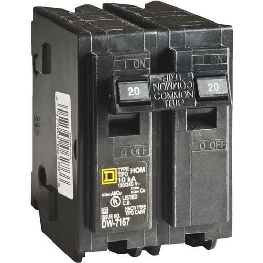 Square D Co. 20A 2Pole Breaker HOM220C Unit: Card