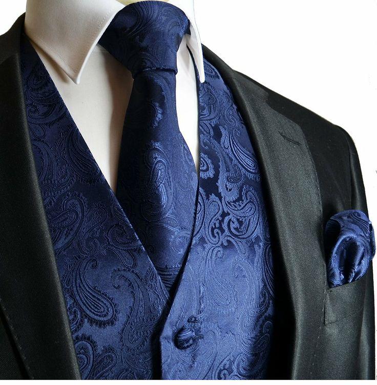 blue on blue subtle paisley tie, pocket square and