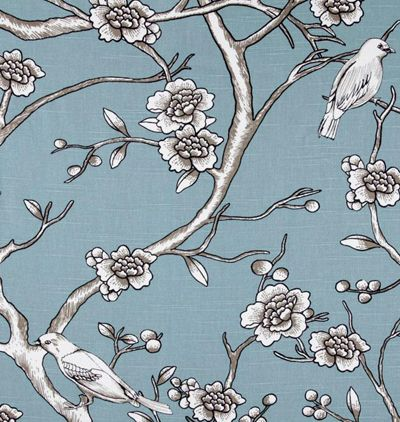 """""""Vintage Blossom, Jade""""  Introducing Dwell Studio and their Eclectic Modern collection in beautiful 100% cotton prints.  The colors in this gorgeous, large scale print is a blue-green with grey-beige (""""greige"""") and white & black contrast lines."""