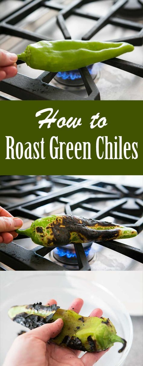 Roast your own green chiles, it's EASY! For Hatch, Anaheim, and Poblano green chiles. Video, step by step photos