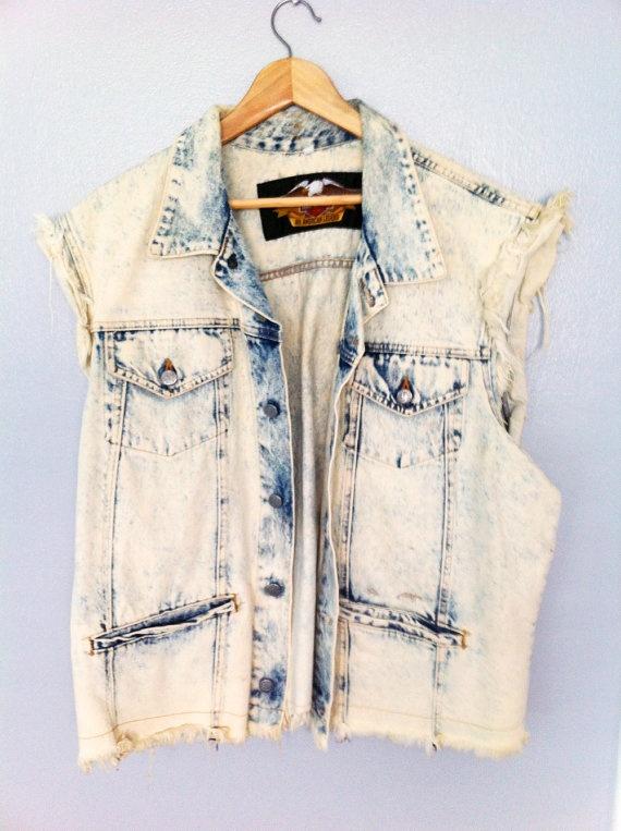 Vintage Harley Davidson Acid Wash Bleached perfect denim jacket grunge alternative fashion style