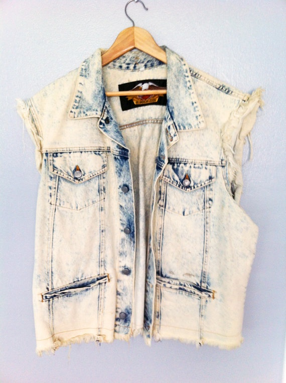 Vintage Harley Davidson Acid Wash Bleached perfect denim jacket grunge alternative fashion style