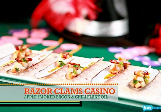 "Chef Roble and Co Season 1 - A Shore Thing - Razor Clams Casino A perfect sea side appetizer to greet my Late summer guests. Goes fabulous with the ""La Crema"" wine selection to celebrate the season!"