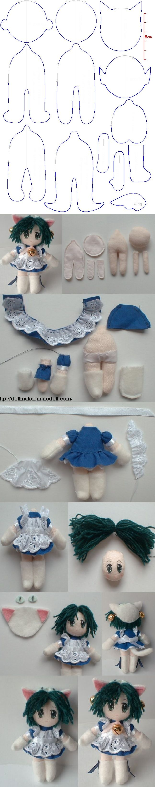 Mini doll of Di Gi Charat (Princess Dejiko) Pattern for 4 inches http://dollmaker.nunodoll.com/anime/digi_charat.html http://dollmaker.nunodoll.com/