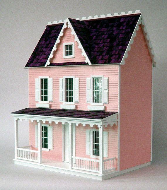 Vermont Farmhouse Jr. Wooden Dollhouse Kit par miniaturerosegarden