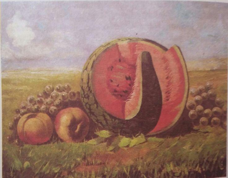 Hamdi Kenan: karpuzlu peyzaj. Tuval uzerine yagliboya. Ykl. 60×40 cm. Ozel koleksiyon