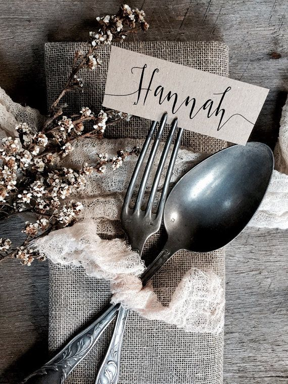 Go rustic with personalized place cards made from recycled kraft paper. #EtsyWeddings