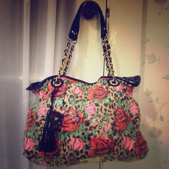 Betsey Johnson Handbags - Betsey Johnson Hobo Rose Floral Leopard Purse