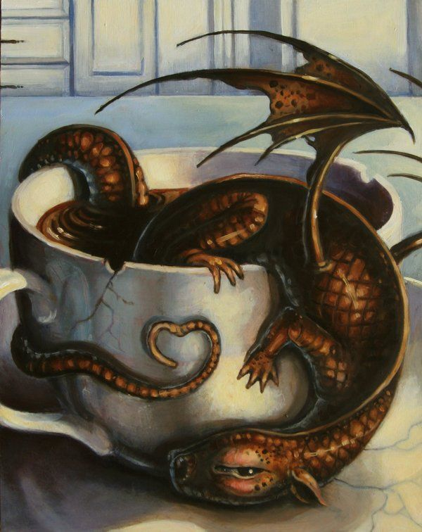 Coffee dragon? That's my kind of morning! Here Be Dragons by AnnPars.deviantart.com on @deviantART                                                                                                                                                     More