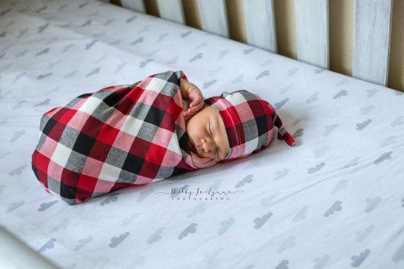 Sale- Designer Knot Top Hat & Swaddling Blanket Set -Buffalo Plaid Ivory black and red Baby Shower Gift-SHIPS SAME DAY