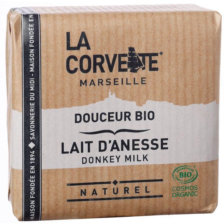 Savon de Provence BIO au lait d'ânesse 100% naturel, artisanal et végétal made in Marseille par La Savonnerie du Midi pour sa marque La Corvette. En savonnette de 100G.