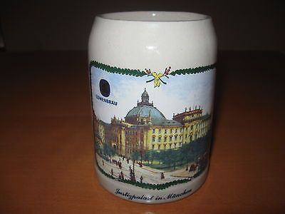 Vintage Lowenbrau Beer Stein Mug Cup FS 0.5L München Justizpalast Justice Palace