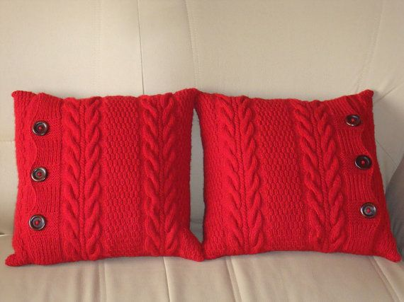 Red pillow cover set 18 x 18 couch throw pillows room decor knit cushions sofa decor knit pillow cases chunky pillow set sofa pillow covers