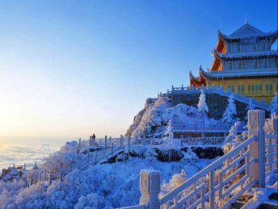 MOUNT EMEI, China: is the tallest of the Four Sacred Buddhist Mountains. It is located in Sichuan Province. Mount Emei is also the location of the first Buddhist temple built in China, in the 1st century, & is traditionally regarded as the bodhimaṇḍa, or place of enlightenment, of the bodhisattva Samantabhadra. Here the fixed plans of Buddhist monasteries of earlier periods were modified or ignored in order to make full use of the natural scenery. Mount Emei has an alpine subarctic climate.