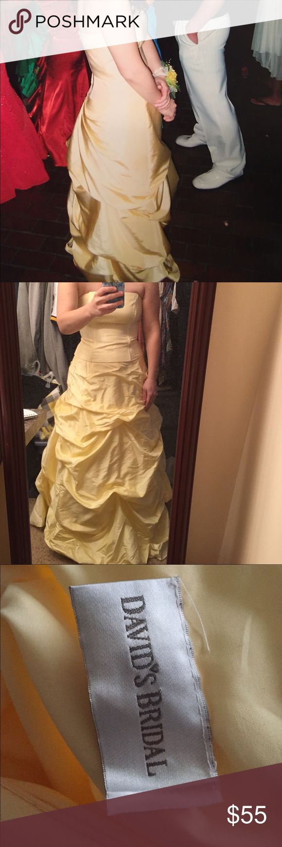 David's Bridal Canary Yellow Prom Dress 👗 Gently use David's Bridal strapless 2 piece prom dress for sale. Bottom is a size 10, top is a size 8. David's Bridal Dresses Prom