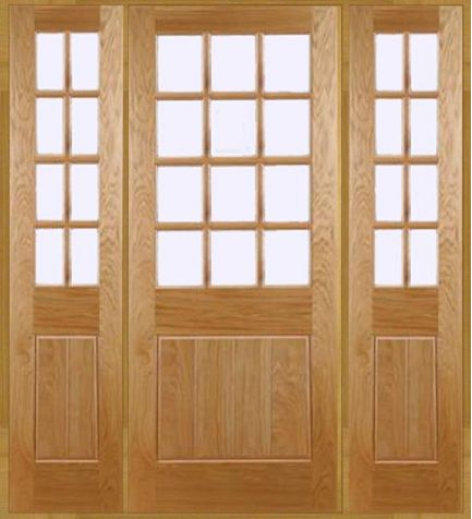 Epsom Grand Entrance With 1 x Door & 2 x Sidelights. A Grand Entrance Door design, beautifully manufactured sleek in appearance designed for properties with a cottage feel. Benefiting from acid etched glass with a bevelled edge. Also available in a garage door.