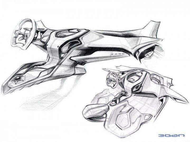 Ford iosis MAX Concept Interior Design Sketch.