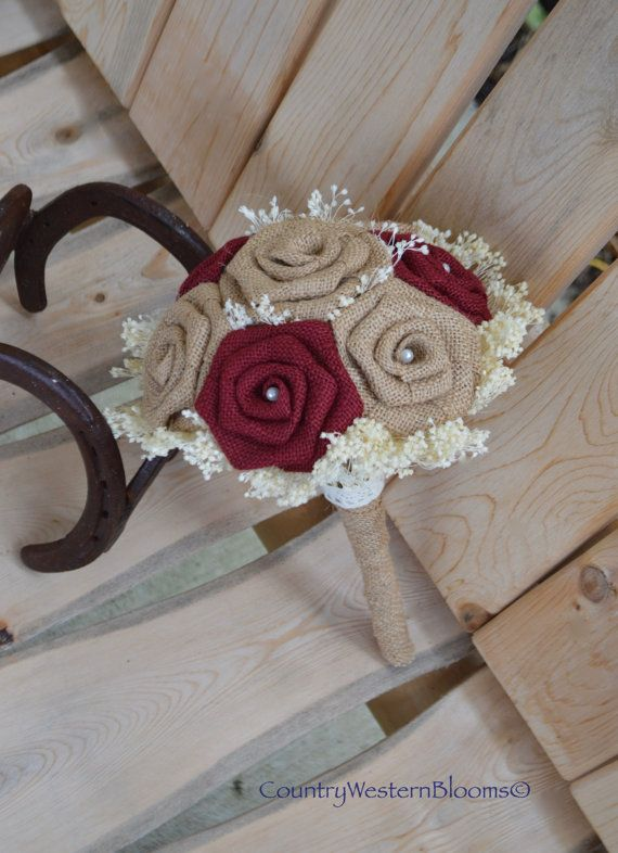 Fall Bouquet Maroon Burlap Bouquet by CountryWesternBlooms on Etsy