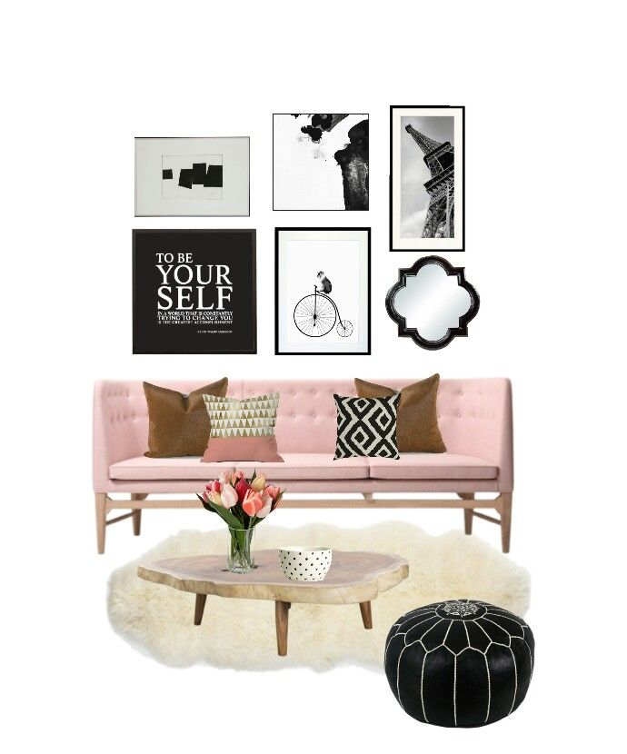 Living room pink sofa  How to make black and white gallery wall