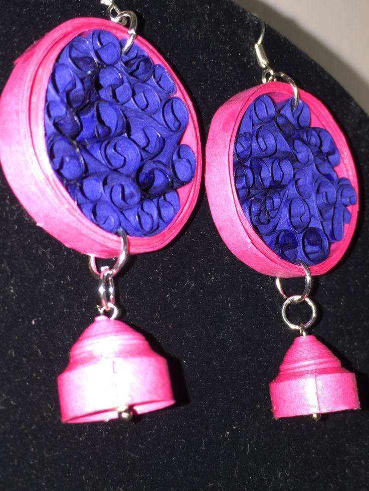Handmade waterproof quilled earrings  material : acid free paper with swarovski pearl KM Q54