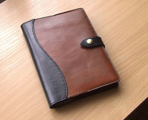 Moleskine leather notebook cover with wavy attachment