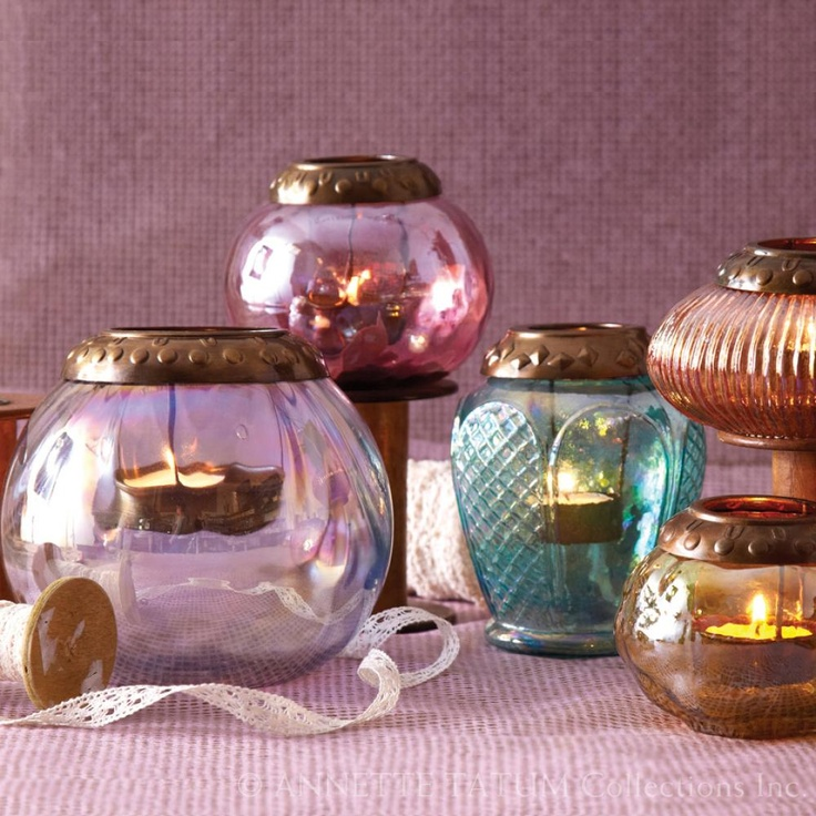 Annette Tatum Iridescent Tea Lights Candle Holders ~  set of five includes Violet, Cranberry, Turquoise, Peach & Yellow ~  <3