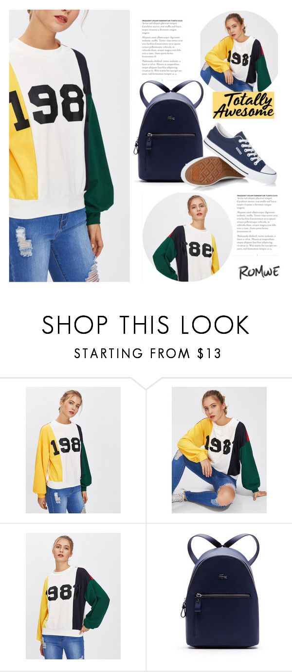 """""""Romwe: Printed Sweatshirt"""" by voguebits ❤ liked on Polyvore featuring Lacoste, Sweatshirt and omwe"""