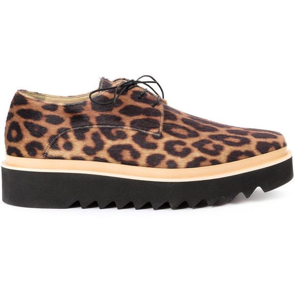 Stella McCartney animal print platform sneakers (11,680 MXN) ❤ liked on Polyvore featuring men's fashion, men's shoes, men's sneakers, black, mens platform shoes, mens leather sneakers, mens black lace up shoes, mens leopard print shoes and mens square toe shoes