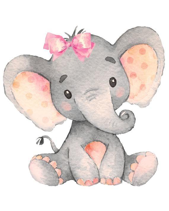 Baby Girl Elephant Nursery Print Jpeg 8 By 10 Digital File Habitacion De Bebe Con Elefantes Dibujos De Animales Tiernos Elefante Para Ninos
