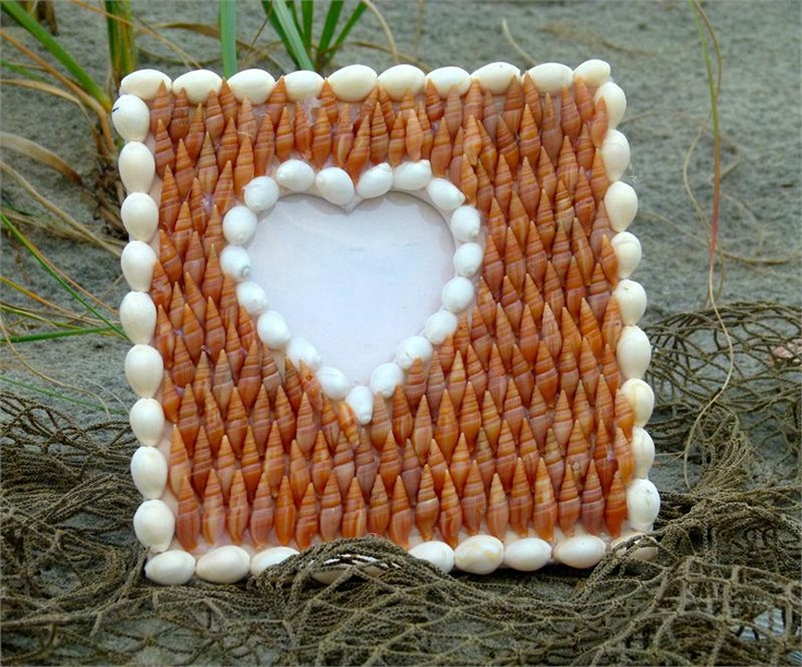 White and Coral Shell Heart Handmade Picture Frame