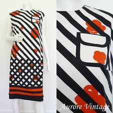 VINTAGE 1960s RETRO WHITE BLACK STRIPE RED POP FLOWER SHIFT DRESS UK 16-18 MOD