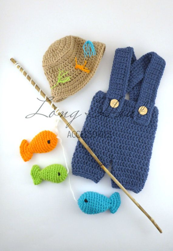 Crochet fisherman outfit.  Newborn to 12 months.  Stick is not included in the set.  $34.50+