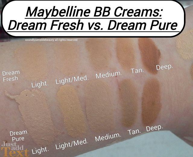 Maybelline Dream Pure BB Cream & Dream Fresh BB Cream Shades