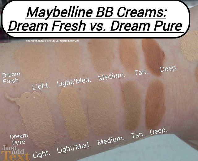 Maybelline Dream Pure BB Cream & Dream Fresh BB Cream Shades
