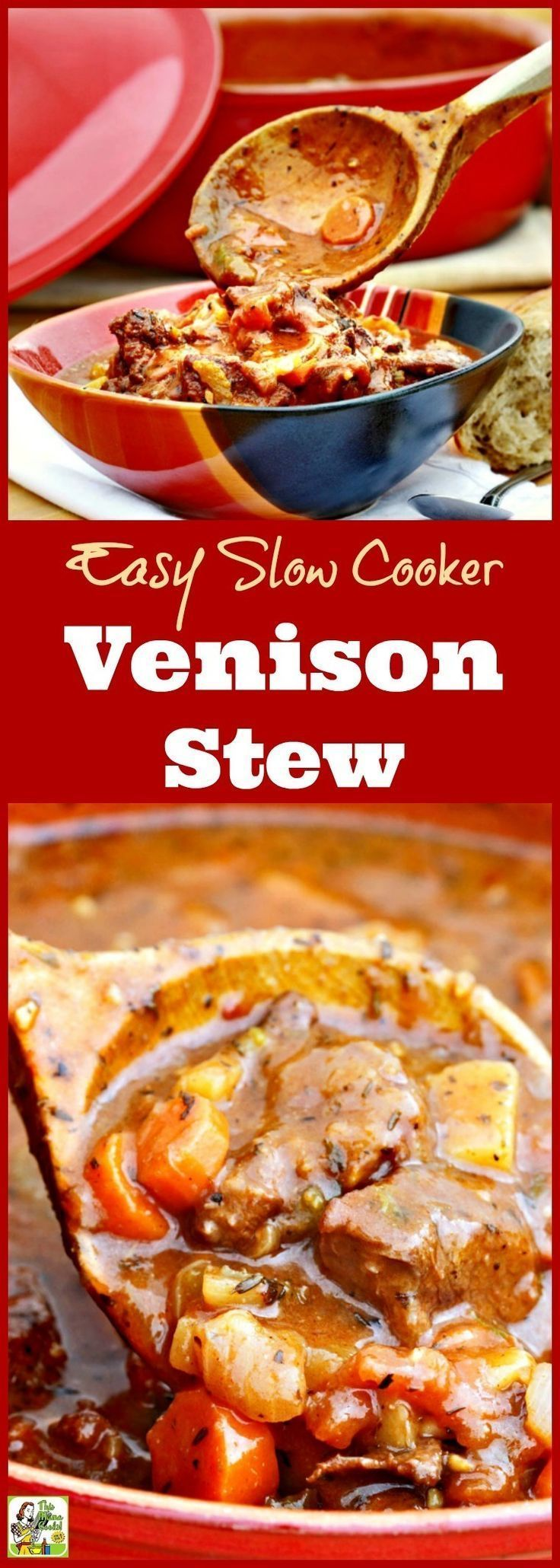 Got venison? Click here to get this Easy Slow Cooker Venison Stew recipe! It's the best crock pot venison stew you'll find. This easy to make venison stew is gluten free and filled with vegetables.